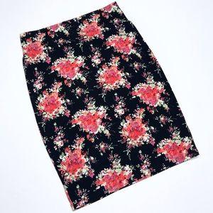 "Size Medium Floral Stretch ""Cassie"" Pencil Skirt"